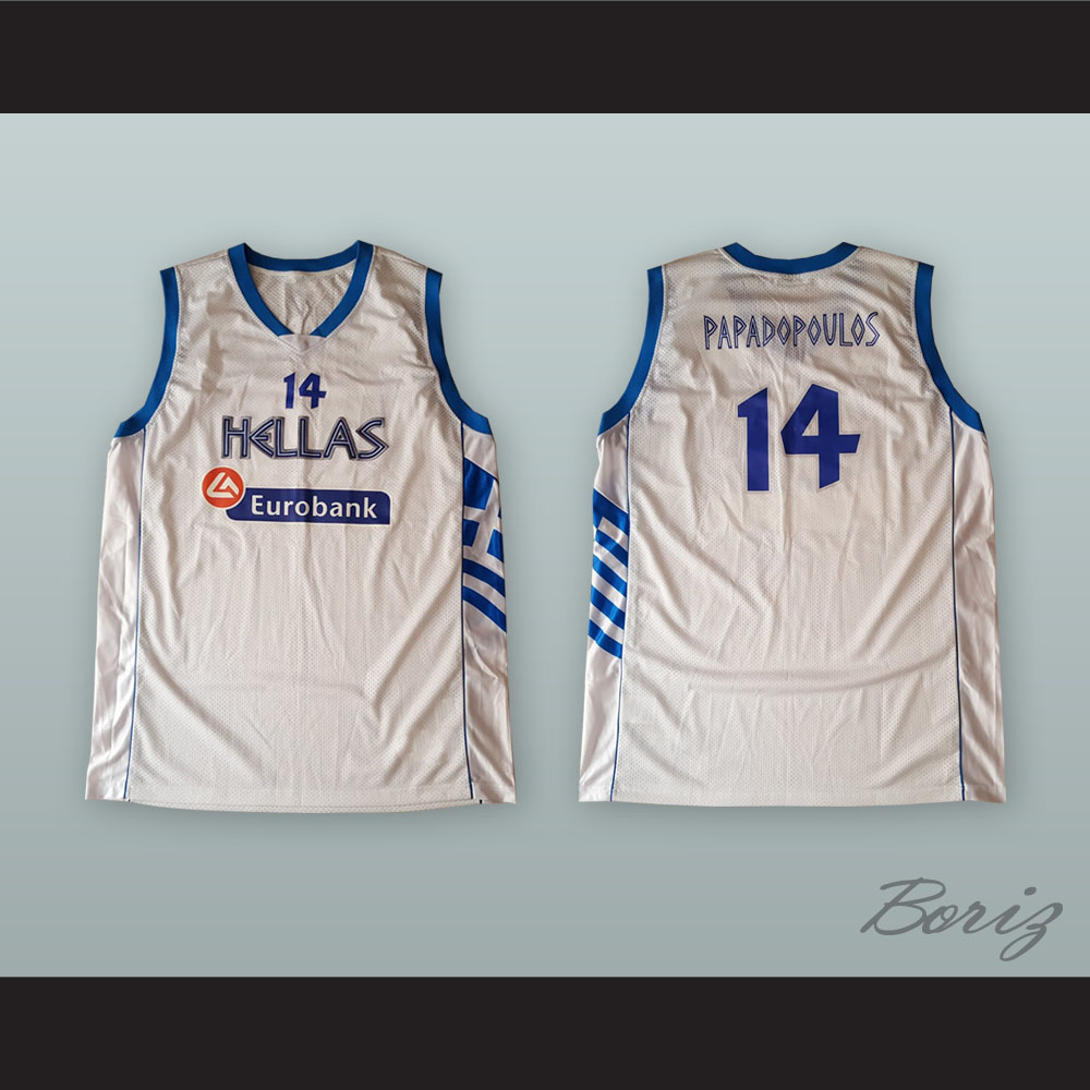 b985f05e9 ... Lazaros Papadopoulos 14 Greece White Basketball Jersey - Thumbnail ...