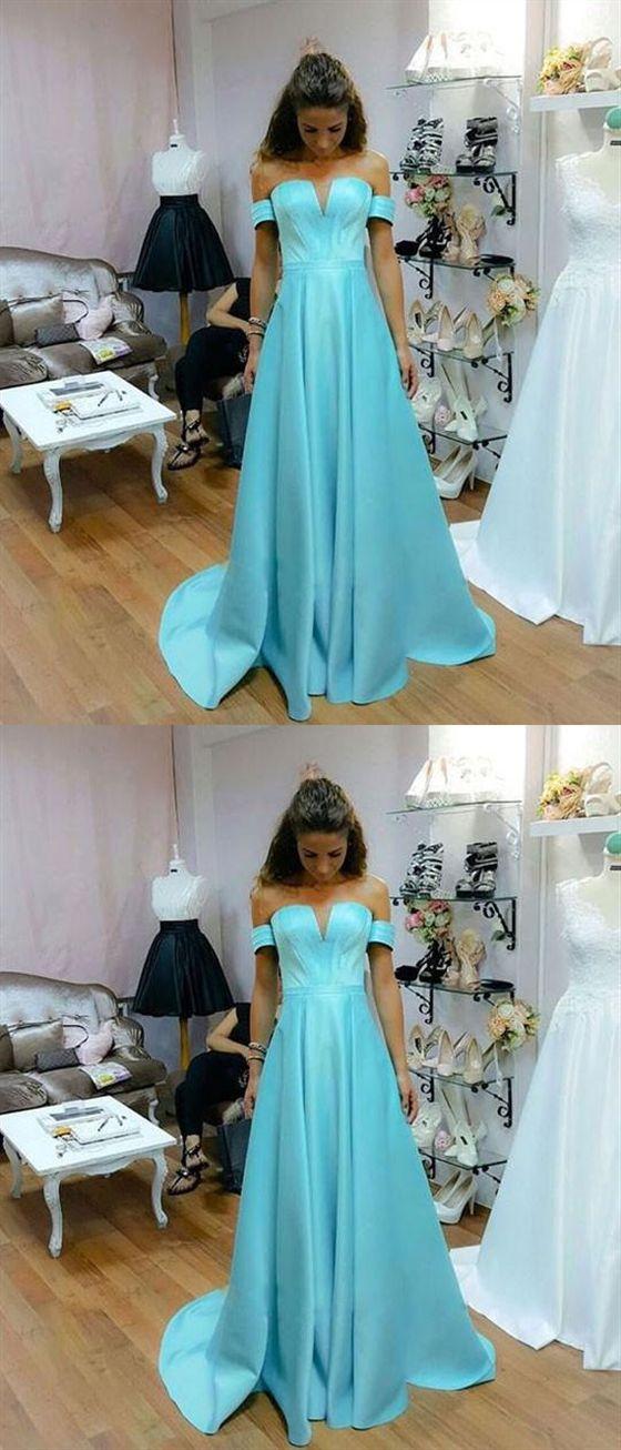 58cd32d14826 Tiffany Blue Off Shoulder Strapless Satin Long Evening Dresses Prom Dresses
