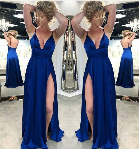 954973f4cf7 Royal Blue Satin Side Slit Long Prom Dress Spaghetti Strap V-Neck Prom  Dresses Plus