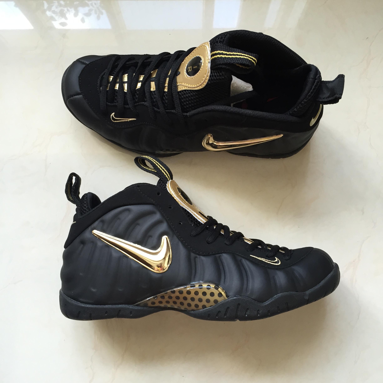8b82319f78561 Men Basketball Shoes Air Foamposite Pro Shoes Black Gold · YogaCloth ...