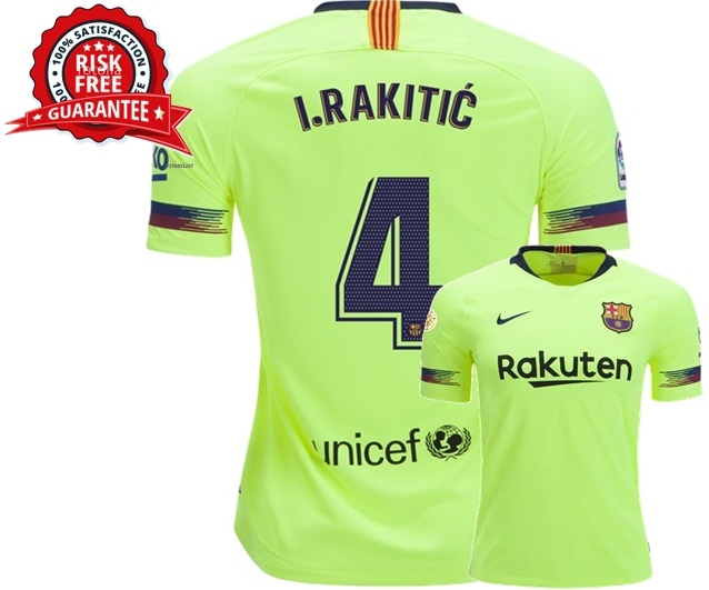Ivan Rakitic  4 FC Barcelona Jersey Away Men 2018 2019 Shirt Yellow Soccer 26718d6f7