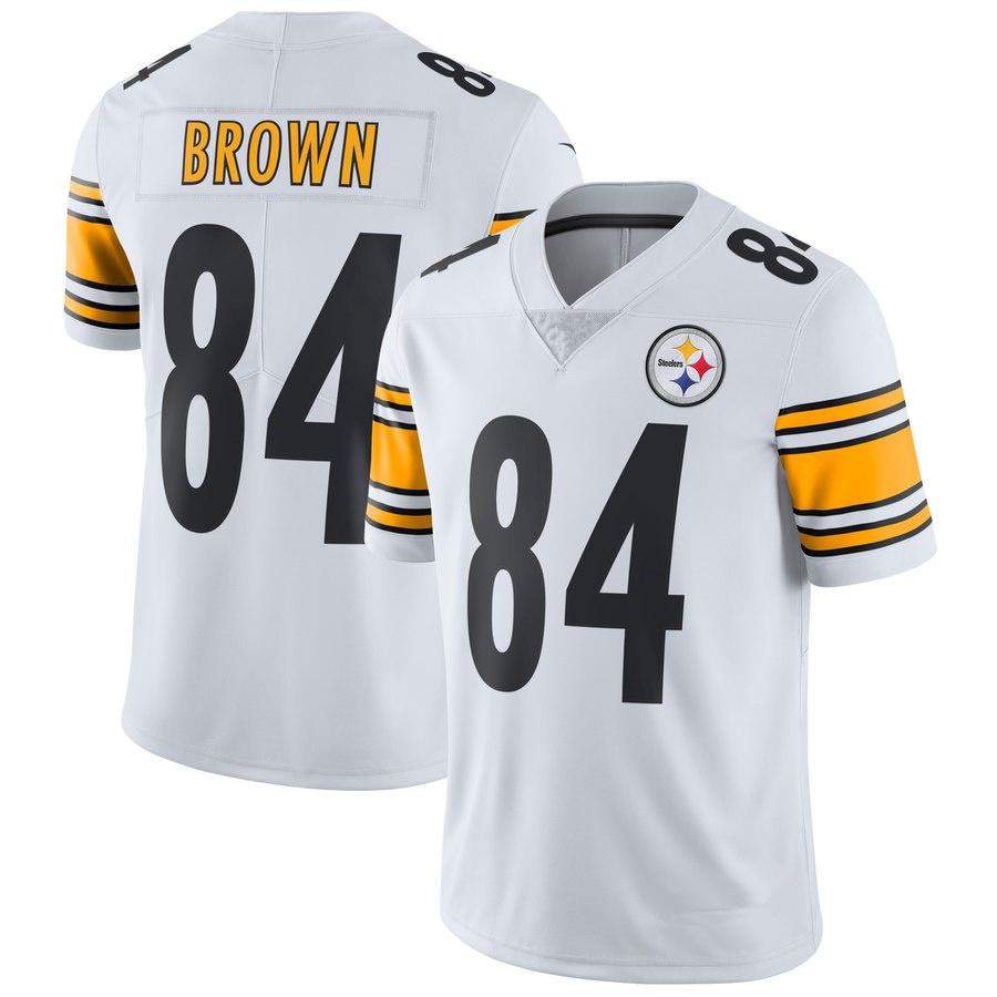 ea33054973e Men s Pittsburgh Steelers  84 Antonio Brown White Football Jersey ...