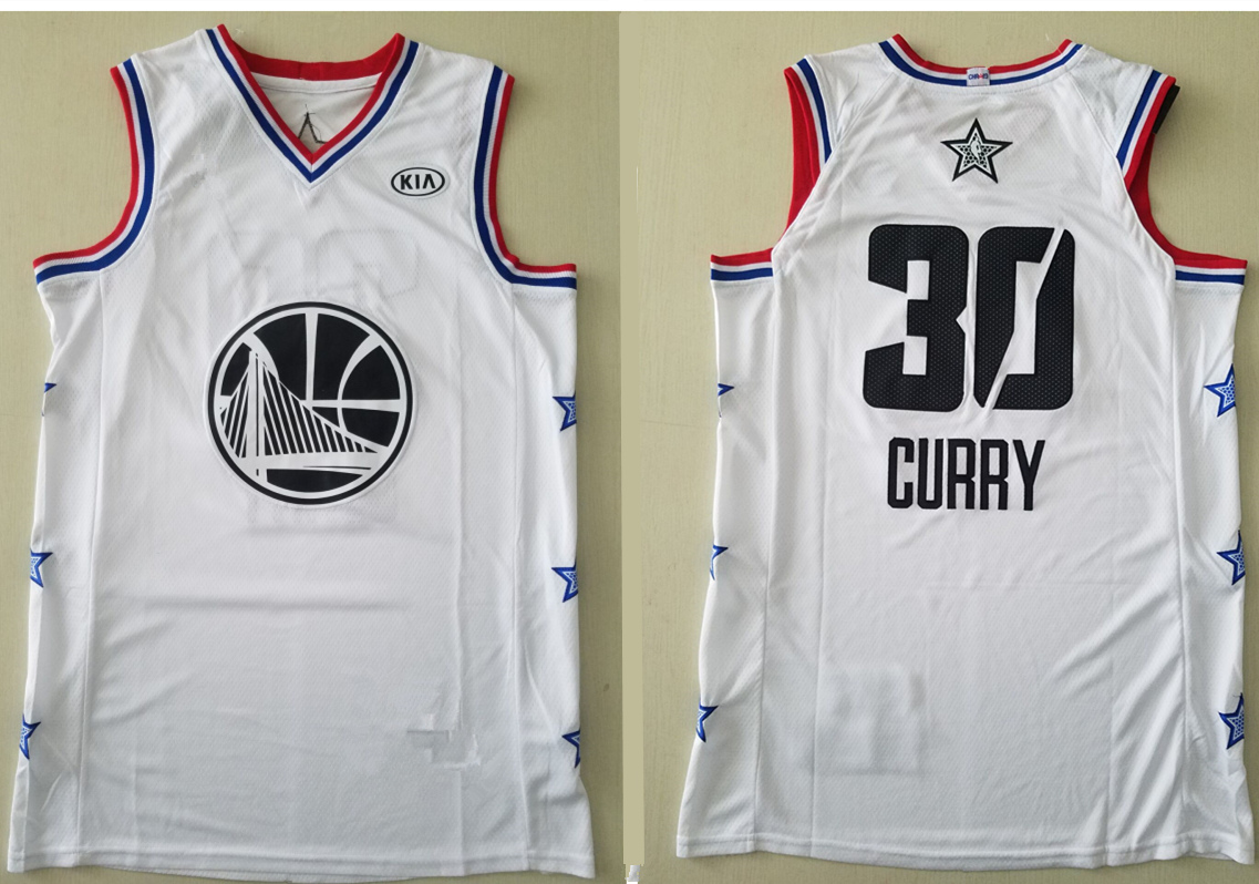 4fda0b10f Men s Golden State Warriors 30 Stephen Curry White 2019 All-Star Game  Finished Authentic Jersey