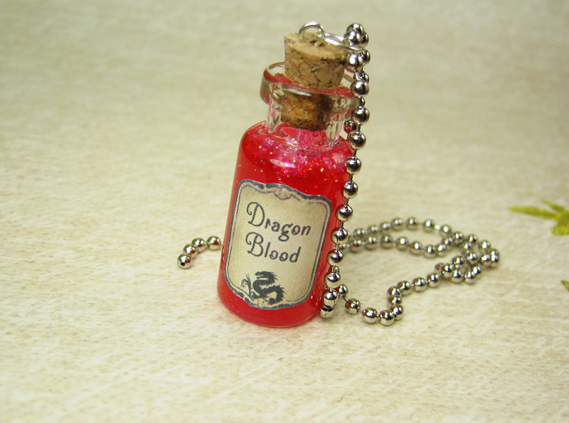 Dragon Blood Glass Bottle Necklace Glass Vial Pendant