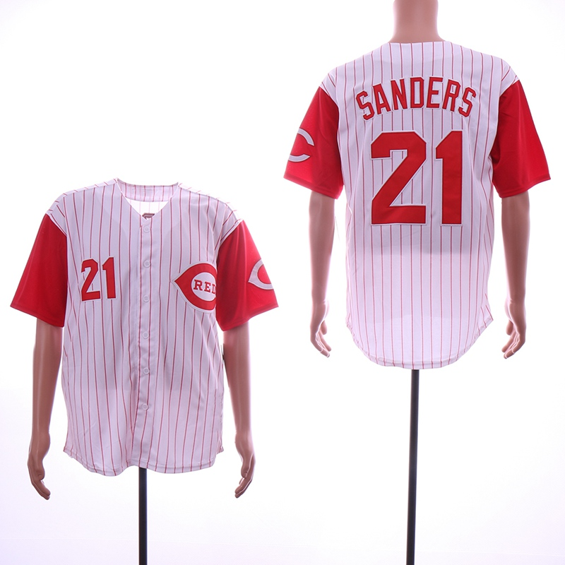 online store 66f49 2900b Men's Cincinnati Reds #21 Reggie Sanders White Red Throwback Jersey  Stitched from Asoprt