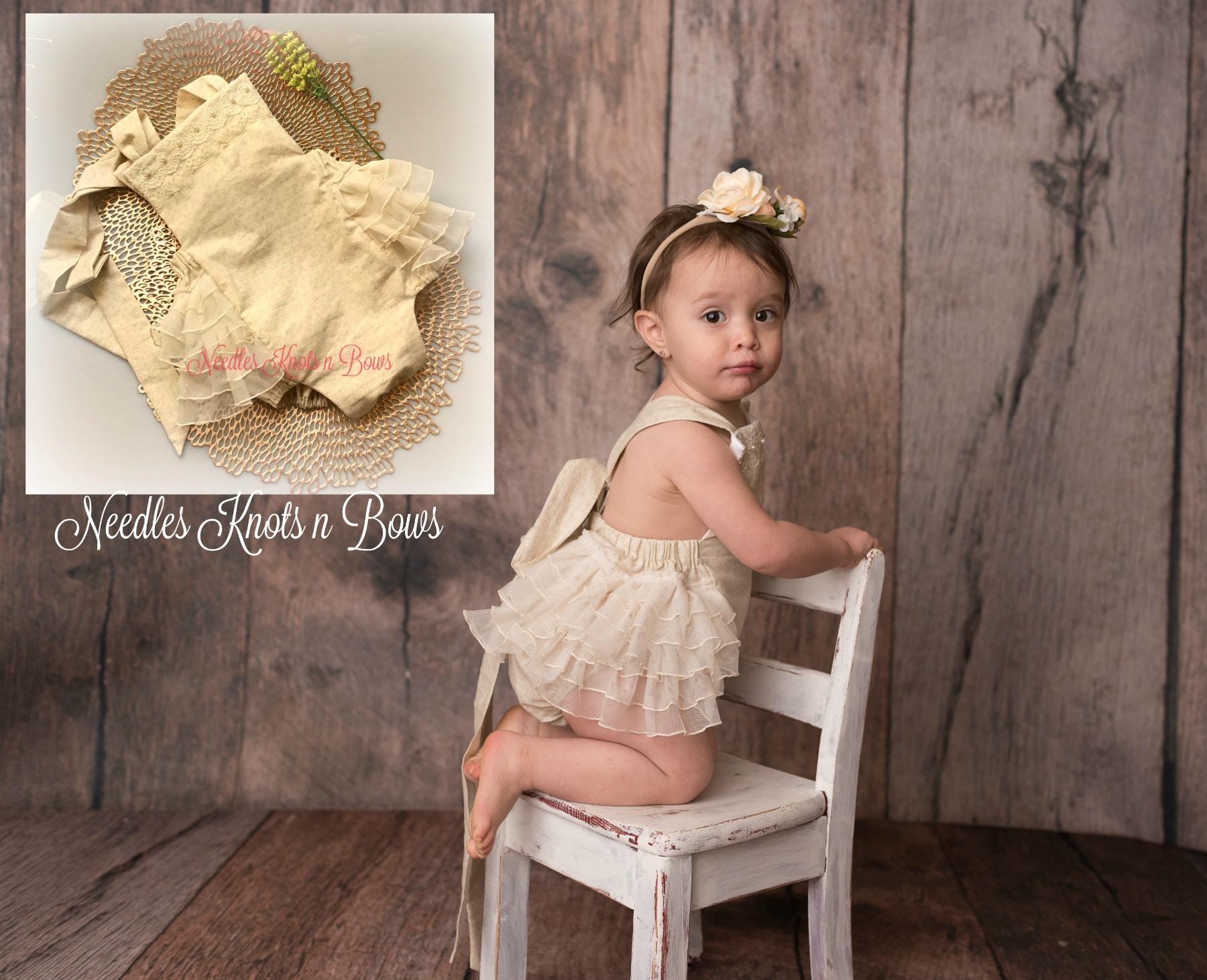 Boho girls romper Organic baby clothes Vintage baby clothes Linen baby romper Beige baby romper Toddler romper