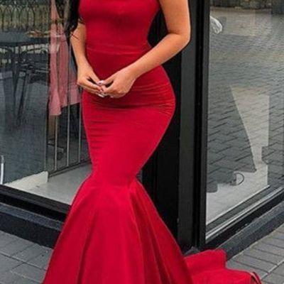 78de2a1bce00 Elegant spaghetti-strap mermaid prom dresses long red evening gowns g764