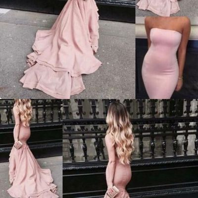 837223bcaf Blush pink prom dresses mermaid strapless satin bodycon evening gowns with court  train tight long special