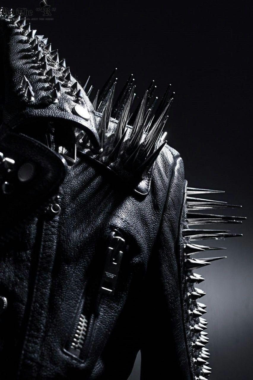 f21b073c7 Men Black Multi studded With long spike Rocker Punk Style biker leather  jacket from Rangoli Collection