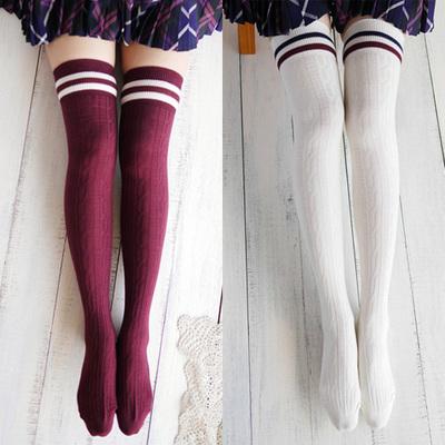 9bb8b0396 Free shipping navy wind twist vertical stripes thigh stockings
