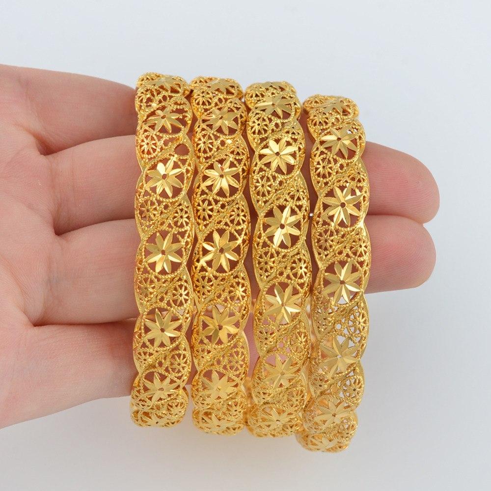 21a4c0a57bafe Ethiopian #088206 Gold Jewelry Dubai Anniyo African Wedding Color Items  4Pieces/Lot, for Middle Bracelet Bangle East Bride Women