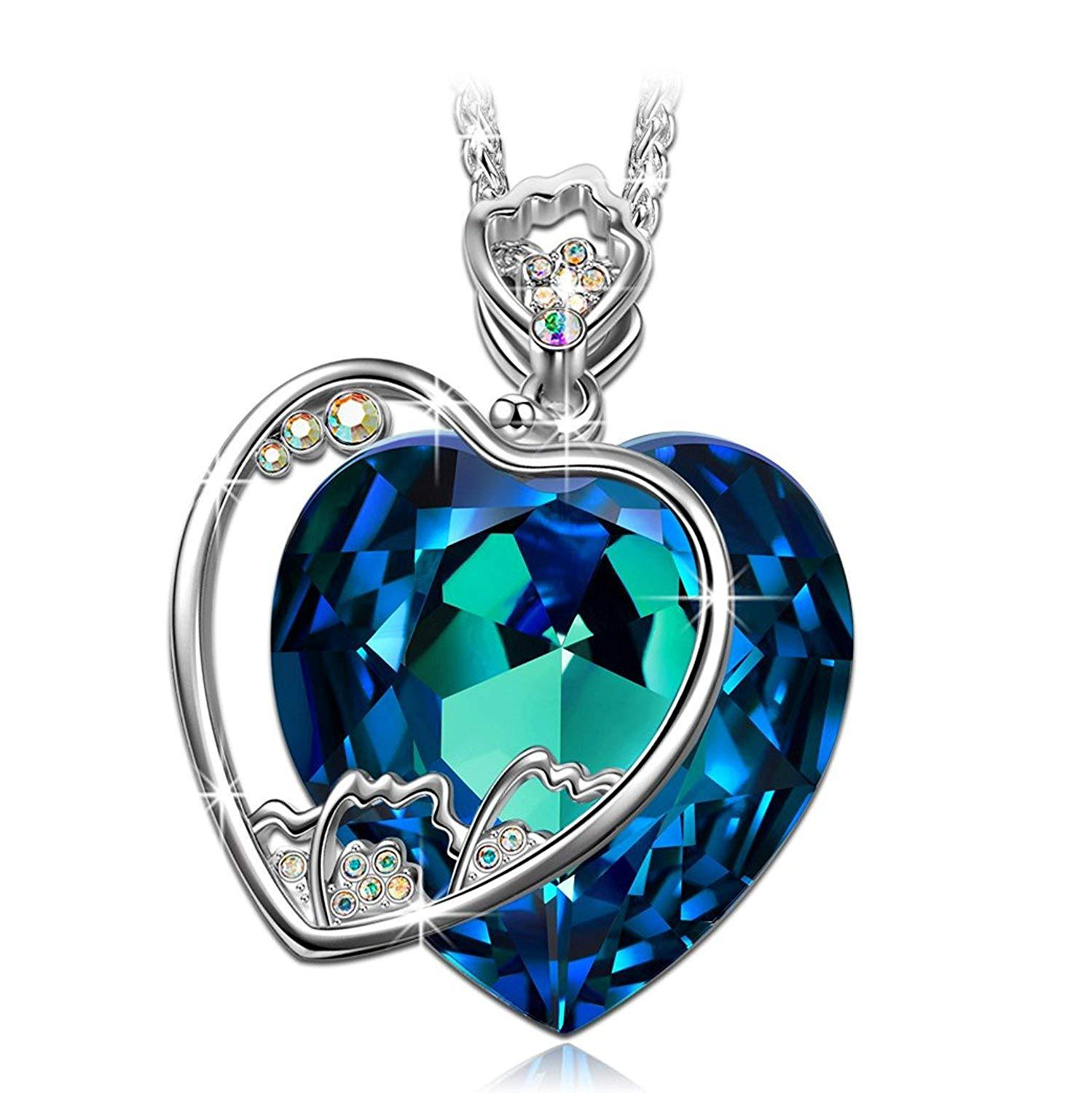 129f4db4bc8dd Heart Necklace -Buy One Get 30% Off (Click The Coupon)- ♥Christmas Jewelry  Gifts for Mommy♥ Bermuda Blue Crystals from Swarovski Pendant Necklace