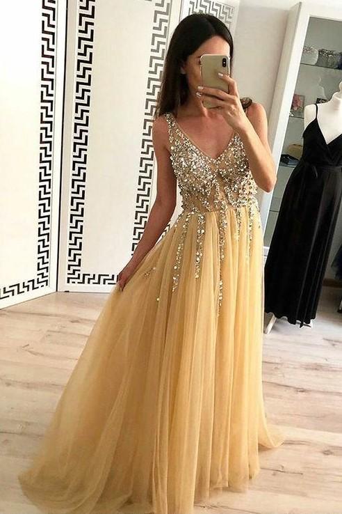 e928a4302b Gold Tulle Prom Dress with Rhinestones V-neck Bodice · NarsBridal ...