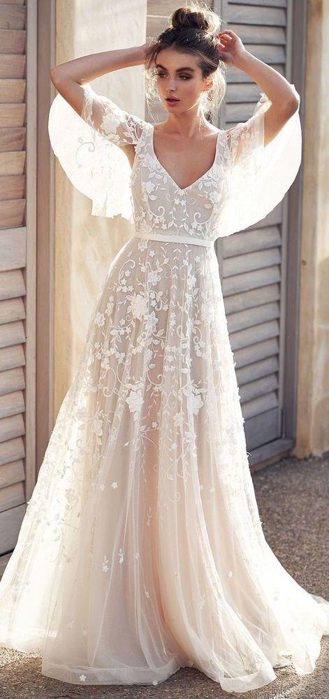 eb4e95be9b2 White wedding dress lace applique wedding dress v neck wedding dress half  sleeves wedding dress LP707