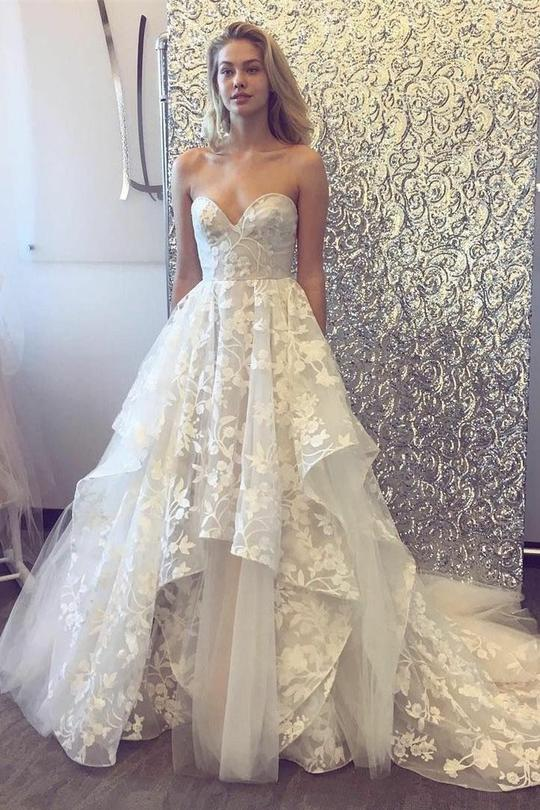 Sweetheart Neck White Lace Layered Sweep Train Wedding Dress Formal Prom Dress From Girlsprom