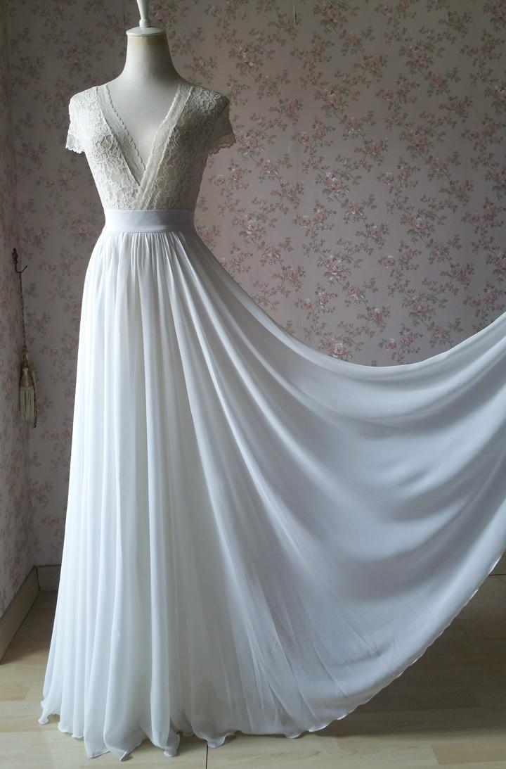 3d8c79f4162bb White Chiffon Maxi Skirt Beach Wedding Maxi Chiffon Skirt White Wedding  Bridal Chiffon Skirt from Dressromantic