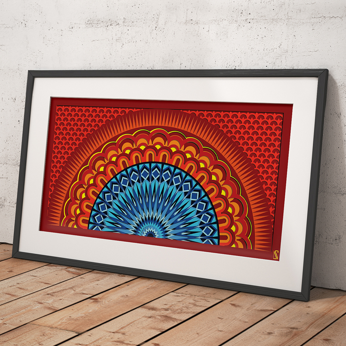 Indian Mandala Printable Sunset Living Room Wall Art Colorful Abstract Geometry Sunset Digital Artwork Instant Download Meditation Art From Scaled