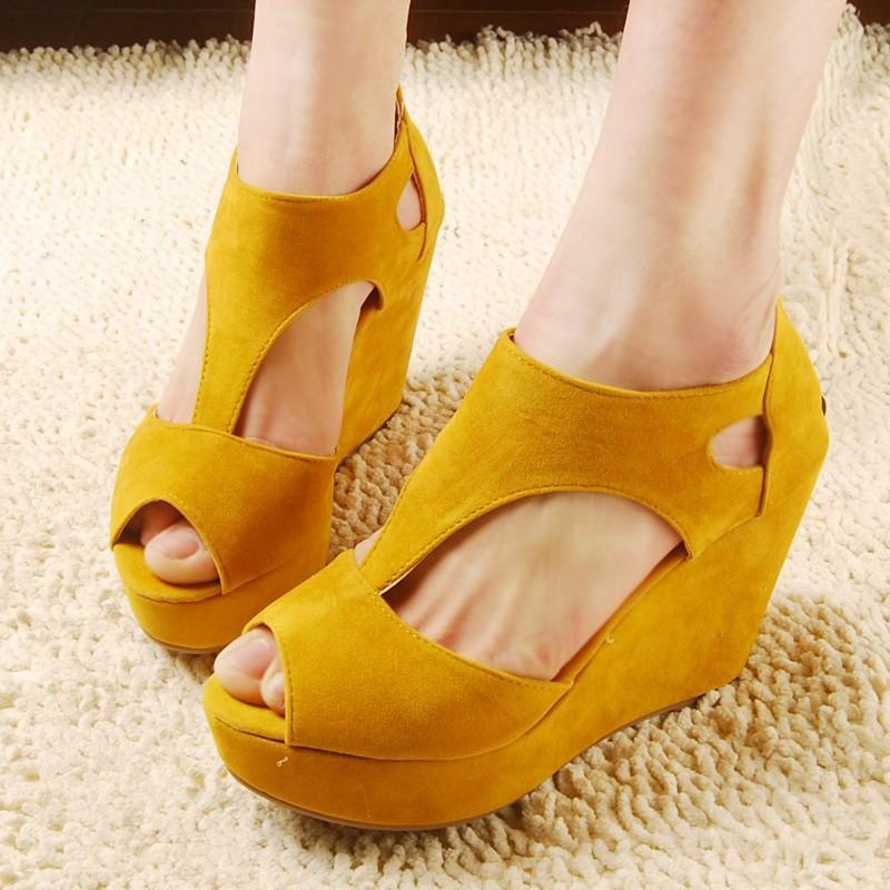 new fashion sexy dress yellow wedge shoes women s high heels sandal ... 2236f32aae