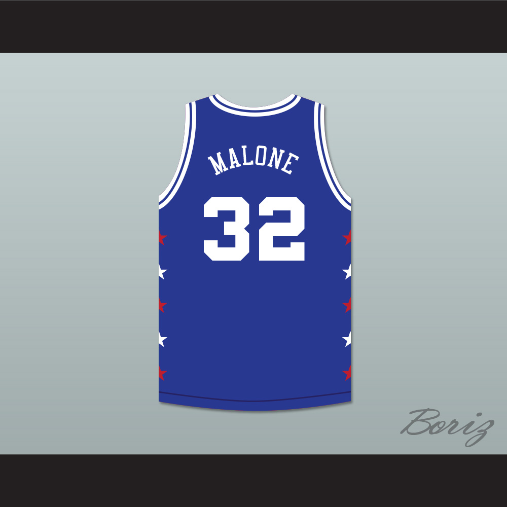 size 40 16157 a9079 Karl Malone 32 Magic Johnson All Star Game Blue Basketball Jersey 1989  Midsummer Night's Magic Charity Event