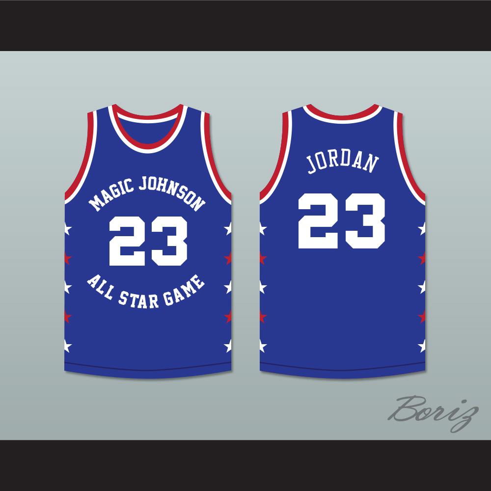 f1ee318cb4e ... Michael Jordan 23 Magic Johnson All Star Game Blue Basketball Jersey  1988 Midsummer Night's Magic Charity ...