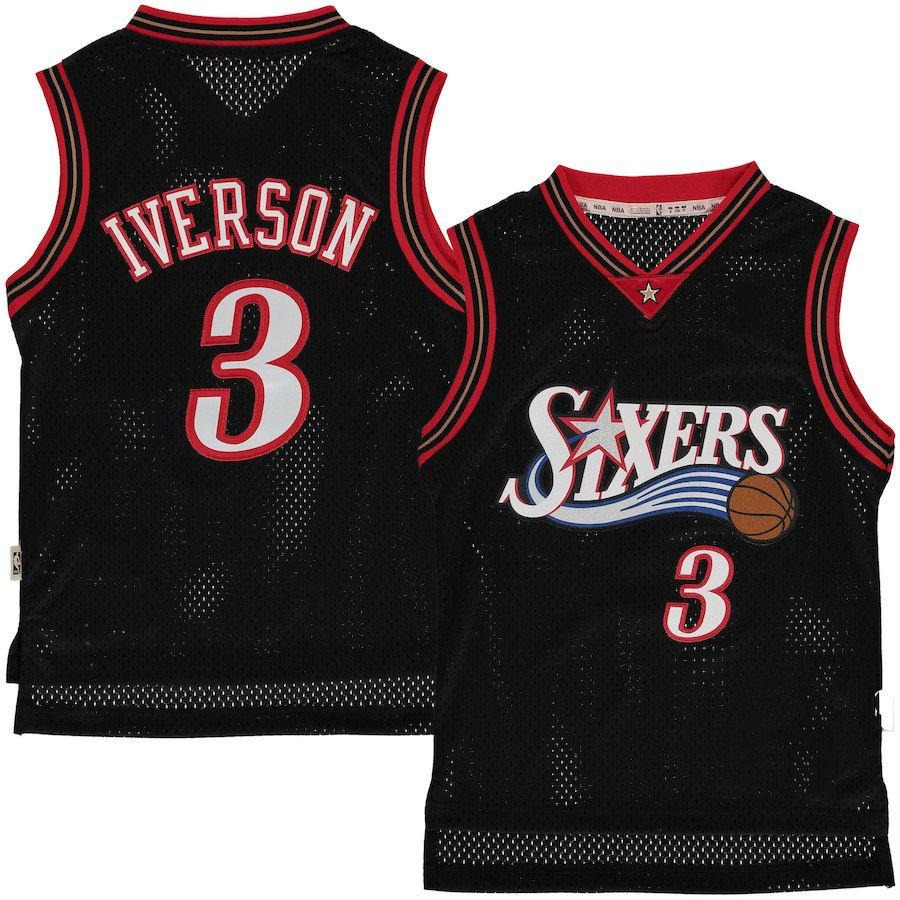cheap for discount 96c8b 39e35 Youth Philadelphia 76ers Allen Iverson Mitchell & Ness Black Hardwood  Classics Swingman Jersey from Fans4store