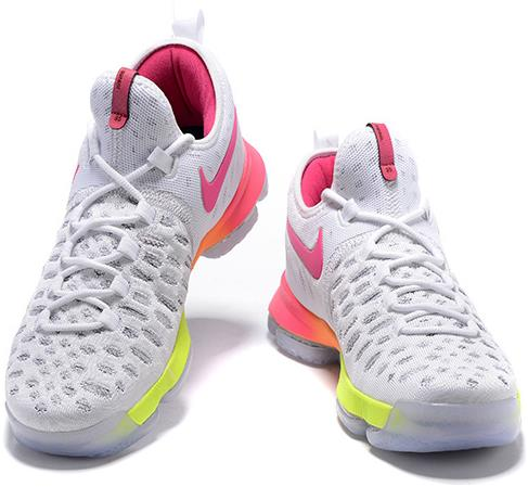 reputable site f002e 46400 2016 Nike KD 9 White Pink-Orange-Volt Basketball Shoes For Sale from  BELLDRESS