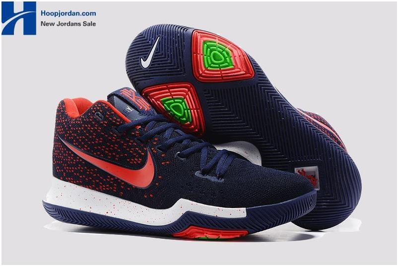 half off ceed0 1d063 Nike Kyrie 3 Dark Blue Red – White/Blue PE Men's Basketball Shoes from  BELLDRESS