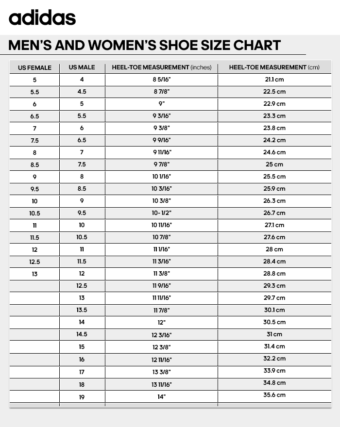 Mens And Womens Shoe Size Chart Adidas Adidas shoes