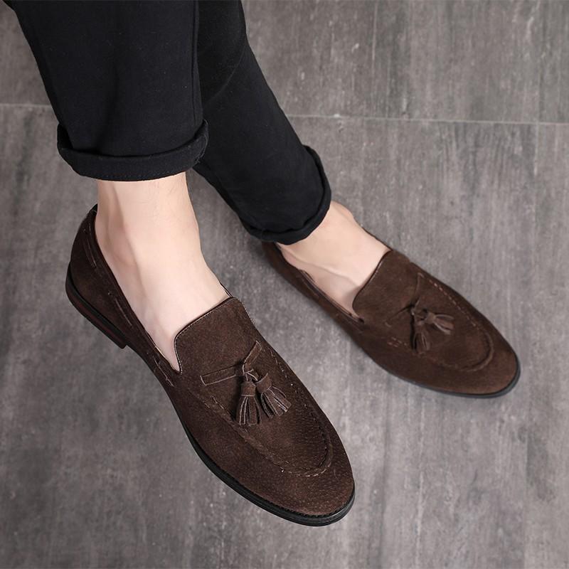 Handmade men leather shoe,brown loafer