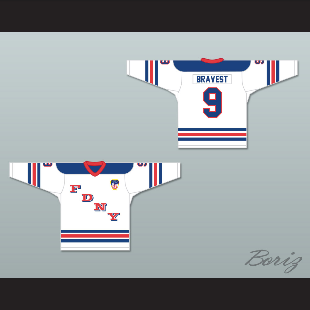 f23158c30f4 ... FDNY Bravest 9 White Hockey Jersey Design 1 with Patch - Thumbnail 3 ...