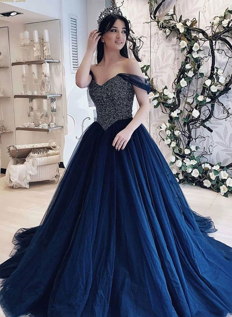 better price for new products for casual shoes Dark Blue Tulle Beaded Off Shoulder Prom Dress,Fashion Women Ball Gown,Blue  Evening Dress