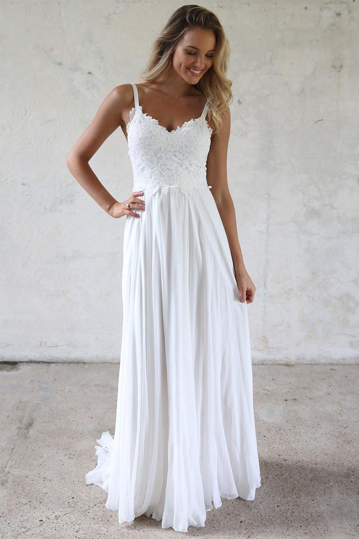 Beach Wedding Dresses.Elegant A Line V Neck Open Back White Lace Beach Wedding Dresses Simple Wedding Gown From Dressmeet