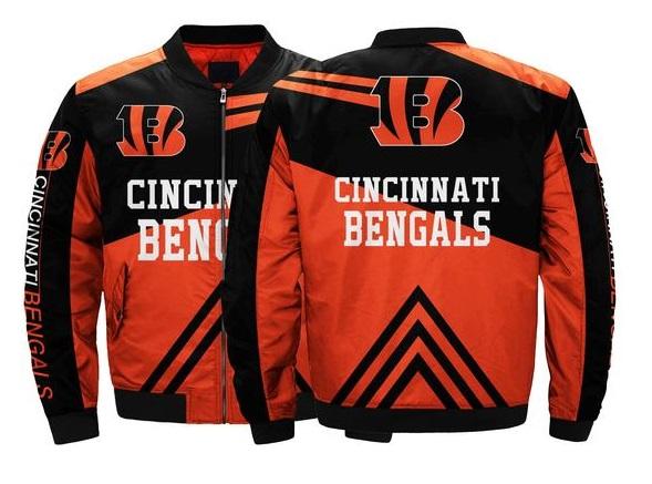 finest selection ccb42 927b9 Cincinnati Bengals NFL Team Men Bomber Jacket Coats