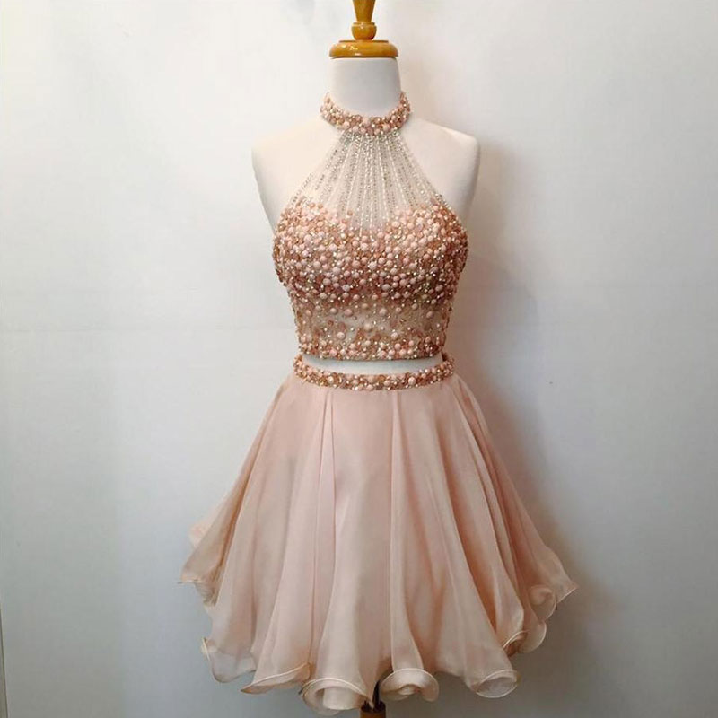 Cute 2 Pieces Champagne/Pink Beaded