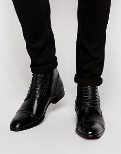 Handmade Men Black Leather Oxford dress