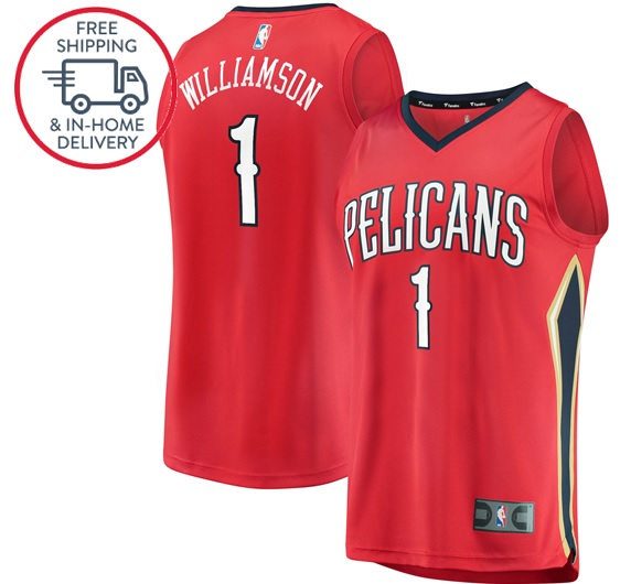 Zion Williamson 1 New Orleans Pelicans First Round 2019 Jersey Men Red From Isacctex