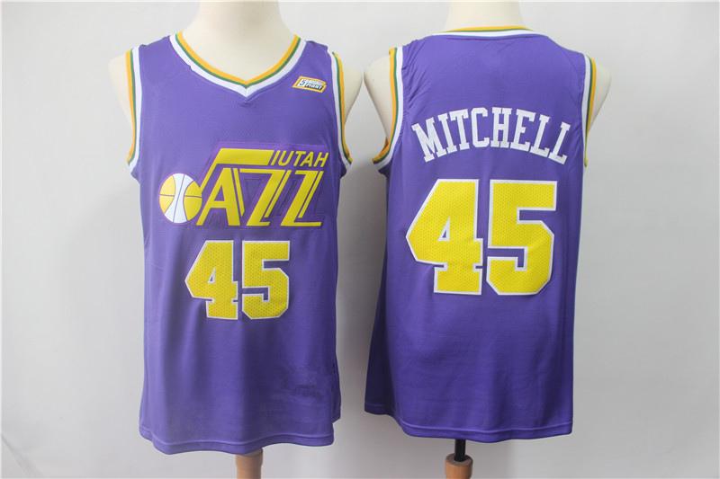 timeless design 9ca91 b8647 Men's Utah Jazz 45# Donovan Mitchell Purple Replica SBasketball Jersey from  emjoin
