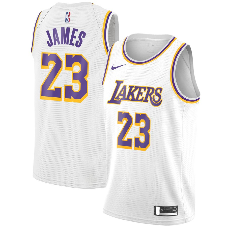 new arrival 3ff64 6cbda Men's Los Angeles Lakers #23 LeBron James White Basketball Jersey  Association Edition S-2XL sold by mathewcute