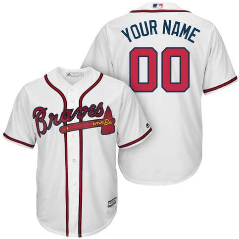 buy online 12131 55eac Mens and Youth Atlanta Braves Custom Name & Number Cool Base Baseball  Jersey White Colors sold by New tuboshop