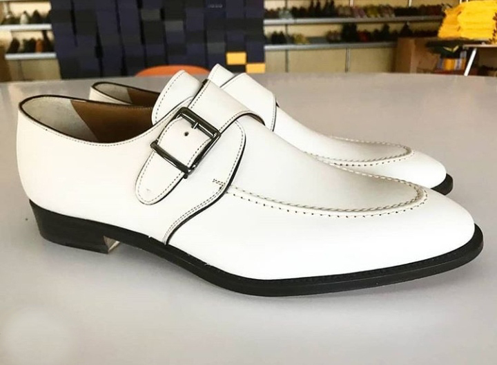 Handmade White Color Leather Round Toe