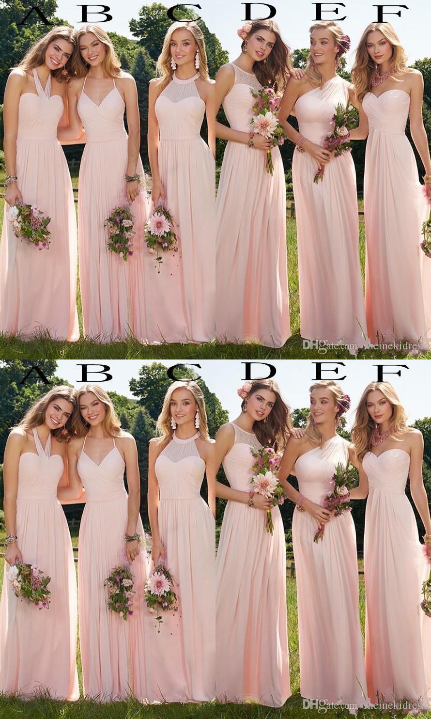 Summer 2019 Cheap Blush Chiffon Long Bridesmaid Dresses Boho Bridesmaid Dress For Beach Prom Party Ruffles Wedding Guest Gowns Custom Made Lv1258 From