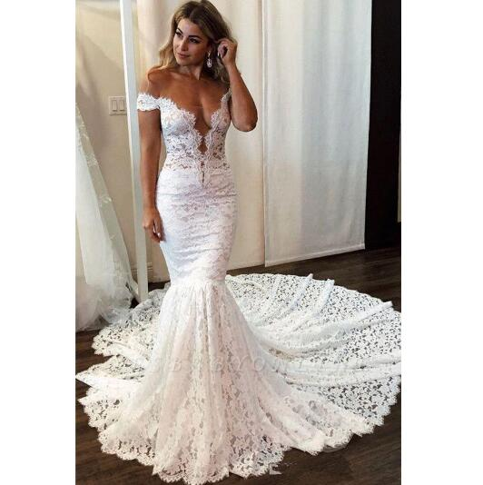 Full Lace Mermaid Wedding Dresses Elegant Off Shoulder Backless With Button Covered Long Bridal Gowns Misszhu Bridal Online Store Powered By Storenvy,Beach Wedding White Maxi Dress