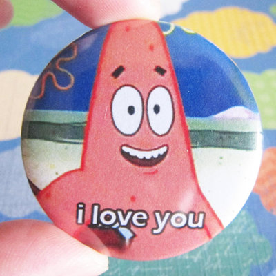 I Love You Patrick Starfish Meme 1 75 Badge Button Instantawesome Online Store Powered By Storenvy