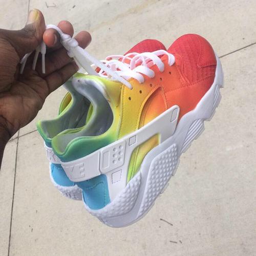 white and rainbow huaraches 7d564f