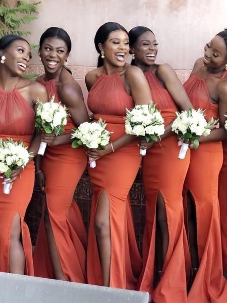 Halter Mermaid Burnt Orange Bridesmaid Dresses For Wedding Party Sold By Dressydances On Storenvy