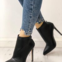 Winter New Women's Leather Boots Women's Shoes Back Zipper Short Plush Pointed G6752 - Thumbnail 2