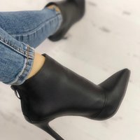 Winter New Women's Leather Boots Women's Shoes Back Zipper Short Plush Pointed G6752 - Thumbnail 3