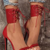 Red Snake Textured Strappy Simple Sexy High-Heeled Sandals G6751 - Thumbnail 3