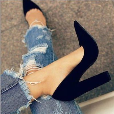 Black pointed women shoes high heels party wedding g9852