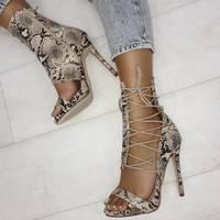 Unique Snakeskin Peep High Heels New S6752 - Thumbnail 1